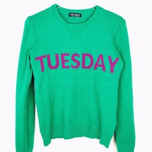 Yishang Green Tuesday Graphic Sweater Sz S